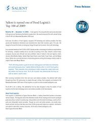 Salient is named one of Food Logistic's Top 100 of 2009