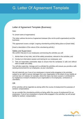 g letter of agreement template volunteering australia