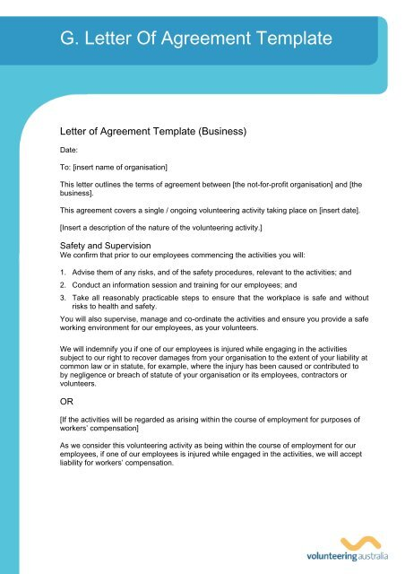 G. Letter Of Agreement Template - Volunteering Australia