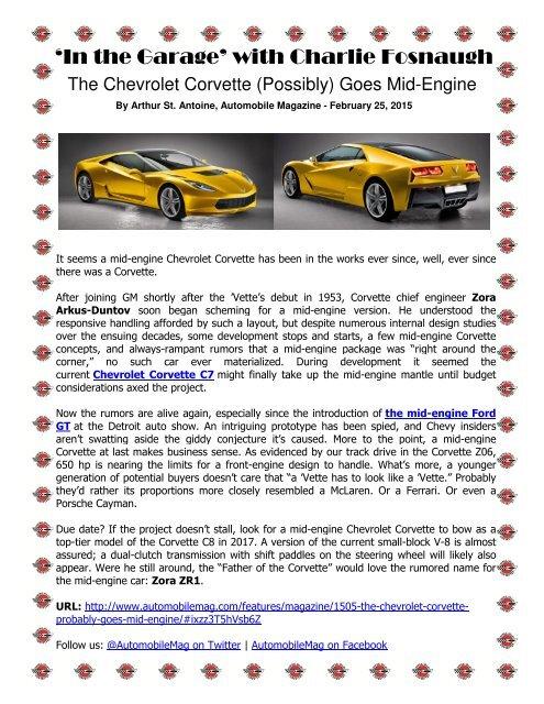 Central Valley Corvettes - March 2015 Magazine