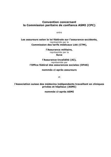 Convention concernant la Commission paritaire de confiance ASMI ...