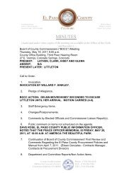 Thursday, May 19, 2011 Minutes - El Paso County Government
