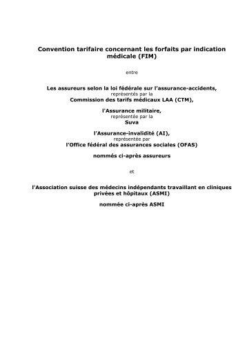 Convention tarifaire concernant les forfaits par indication médicale ...