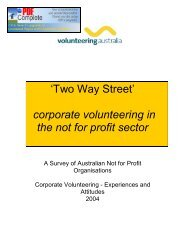 'Two Way Street' corporate volunteering in the not for profit sector