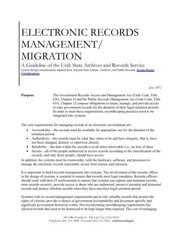 electronic records management/ migration - Utah State Archives
