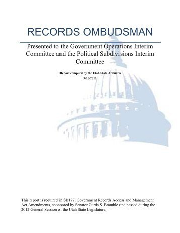 records ombudsman report - Utah State Archives