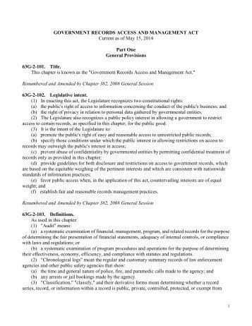 government records and management act - Utah State Archives
