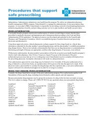 Procedures that support safe prescribing - Independence Blue Cross