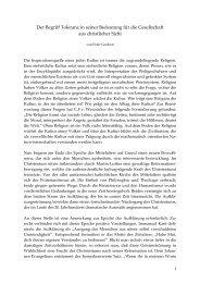 Der Begriff Toleranz in seiner Bedeutung für die ... - Peter Gerdsen