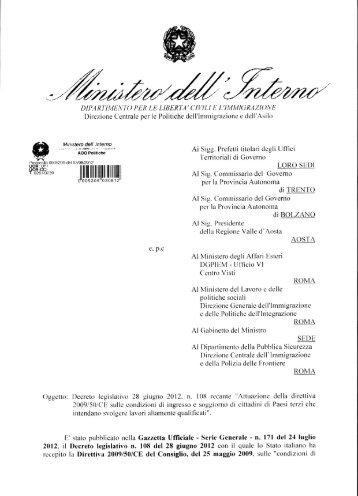 Circolare prot. n. 5209 del 03.08.2012 - Ministero Dell'Interno