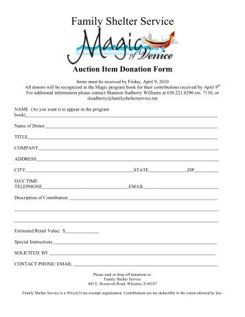 silent auction donation form - Family Services of the North Shore