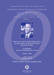Please join us and U.S. Senator Barack Obama, our guest speaker ...