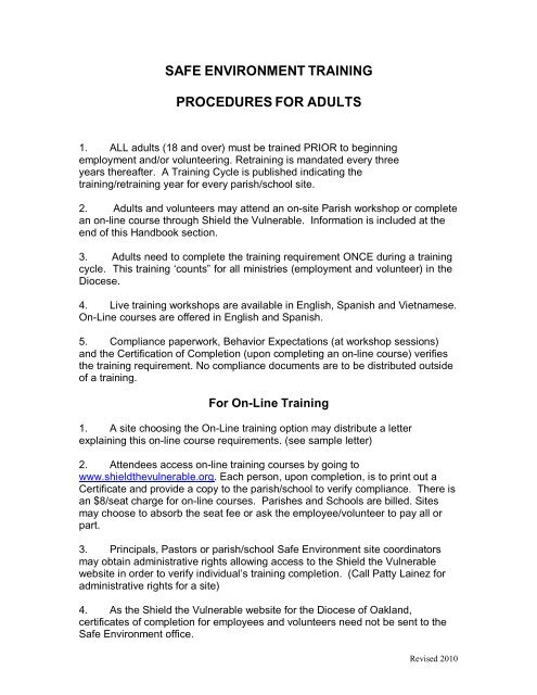 safe environment training procedures for adults - Diocese of Oakland