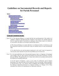 Guidelines on Sacramental Records and Reports for Parish Personnel