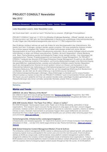 Newsletter Mai 2012 - Project Consult Unternehmensberatung Dr ...