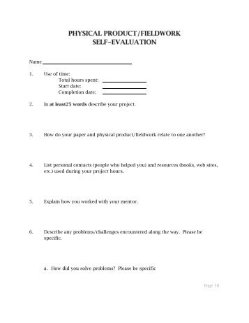 Self Evaluation Form   Lassen High School