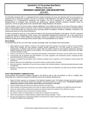 Resident Assistant Job Description And Position Agreement