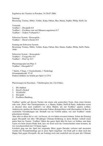 Ergebnisse des Potsdamer Turniers 19.-20.07.08 - YeaHaw!