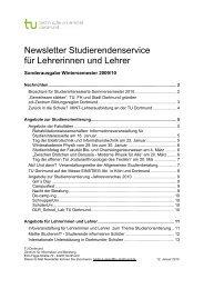 Newsletter Studierendenservice für Lehrerinnen und Lehrer
