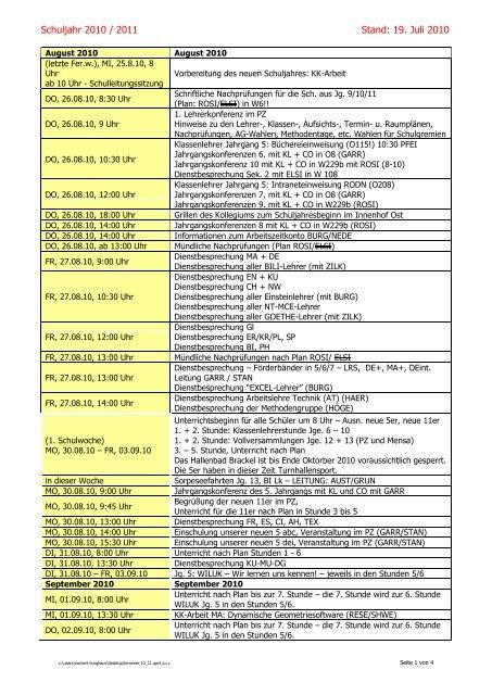 Schuljahr 2010 / 2011 Stand: 19. Juli 2010