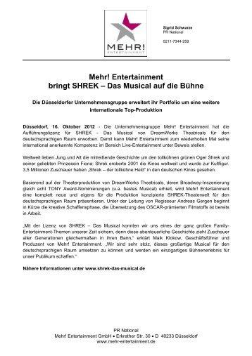 Mehr! Entertainment bringt SHREK – Das Musical auf die Bühne