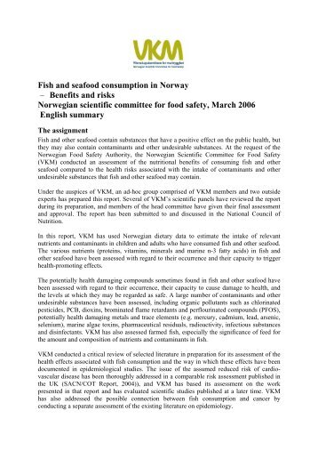 Fish and seafood consumption in Norway – Benefits and risks ...