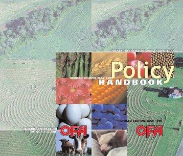 OFA Policy Handbook - Ontario Federation of Agriculture