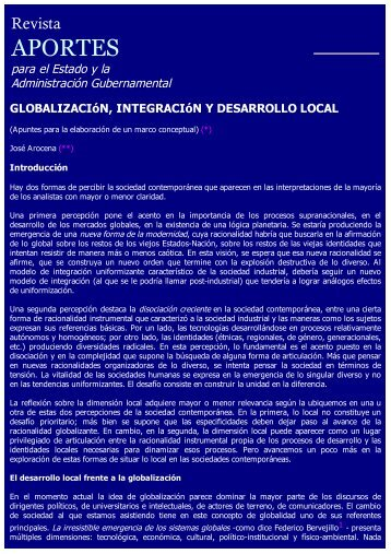 Globalización, Integración y Desarrollo Local - Asociación de ...