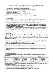 Final examination Energy Analysis, 24 January 2008, 9.00 —12.00