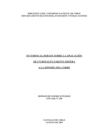 (Nº280 Aplicación de un Royalty o renta minera) - Biblioteca del ...
