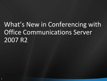 What's New in Conferencing with Office ... - MSUCUG