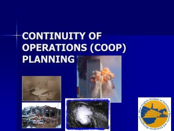 CONTINUITY OF OPERATIONS (COOP) PLANNING