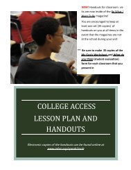 college access lesson plan and handouts - Maryland Business ...