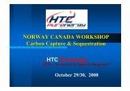 NORWAY CANADA WORKSHOP Carbon Capture & Sequestration ...