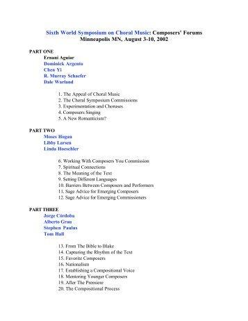 Sixth World Symposium on Choral Music ... - NewMusicBox