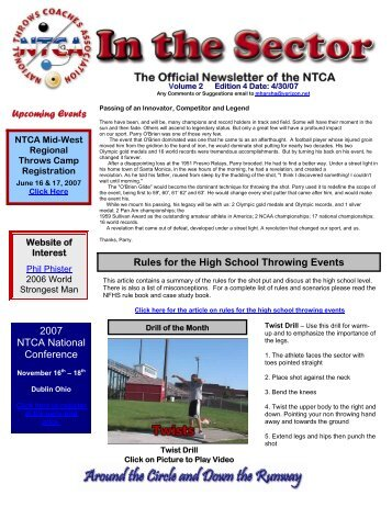 April/May, 2007 - National Throws Coaches Association