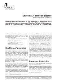 Préparation au concours d'entrée en Licence 3 - Celsa