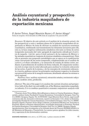 Análisis coyuntural y prospectivo de la industria maquiladora de ...