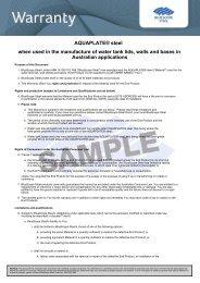 Sample Warranty - BlueScope Steel