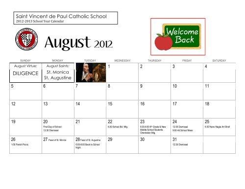 Depaul 2022 Calendar.St Vincent De Paul School Calendar