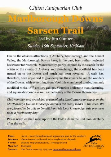 Marlborough Downs Walk Flyer - Clifton Antiquarian Club