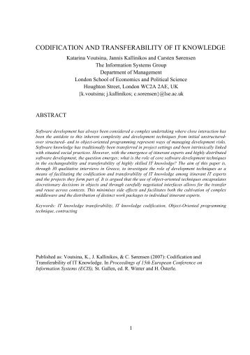 harmonising codification and socialisation in knowledge management pdf
