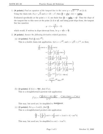 MATH 205–08 Practice Exam #2 Solutions 1. (8 points) Find an ...