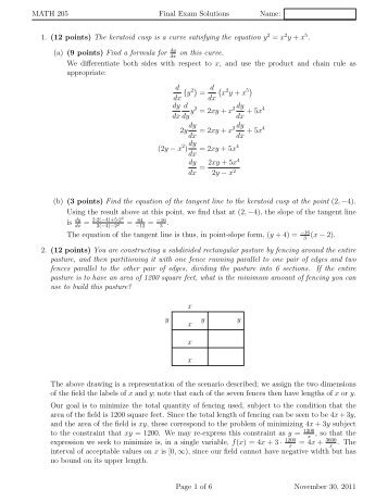 MATH 205 Final Exam Solutions Name: 1. (12 points) The keratoid ...