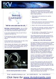 Factsheet 0108 - Bearing lubricants, greases, oils & lubricated for life