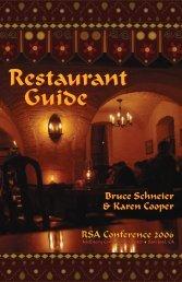 Restaurant Guide - Bruce Schneier