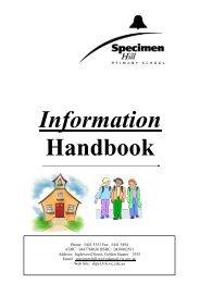 Information Booklet 2012 - Specimen Hill Primary School