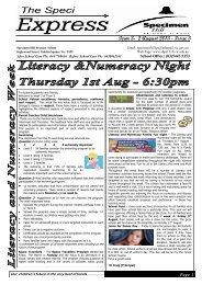 Speci News 2nd August 2013 - Specimen Hill Primary School