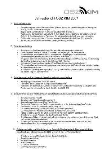 Jahresbericht OSZ KIM 2007