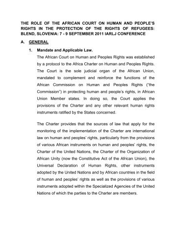 the role of the african court on human and people's rights in the ...